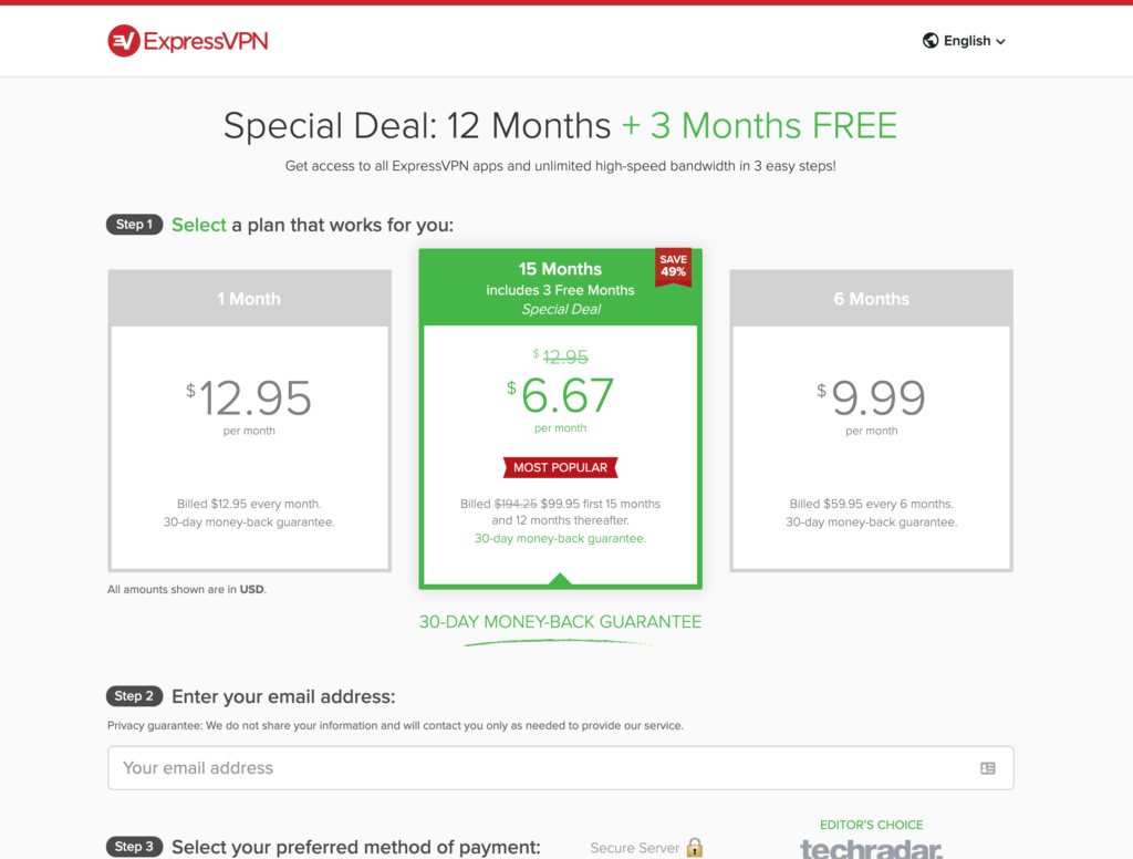 Express VPN Pricing Page