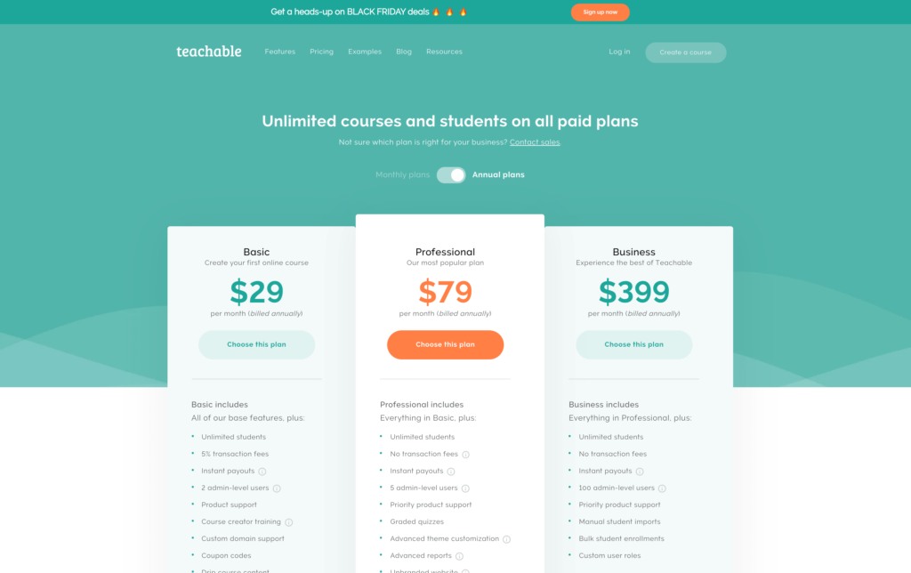 Teachable Pricing Page